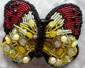 "Barrette or pendant bead embroidery beaded ""butterfly"""