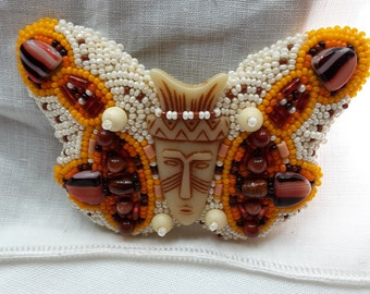"Brooche or pendant bead embroidery beaded ""butterfly"" with face bone wood glass beads"