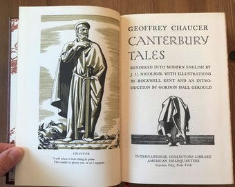 Canterbury Tales by Geoffrey Chaucer - Hardcover circa 1940s