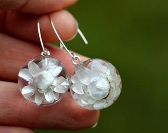 Resin Earrings with Real White Flower, Nature Inspared Earrings, Botanical Jewellery, Resin Balls. Spheres 2 cm.