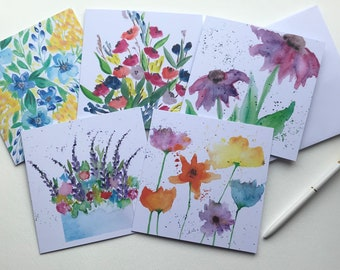 Lakes Edge original hand painted watercolor greeting card.