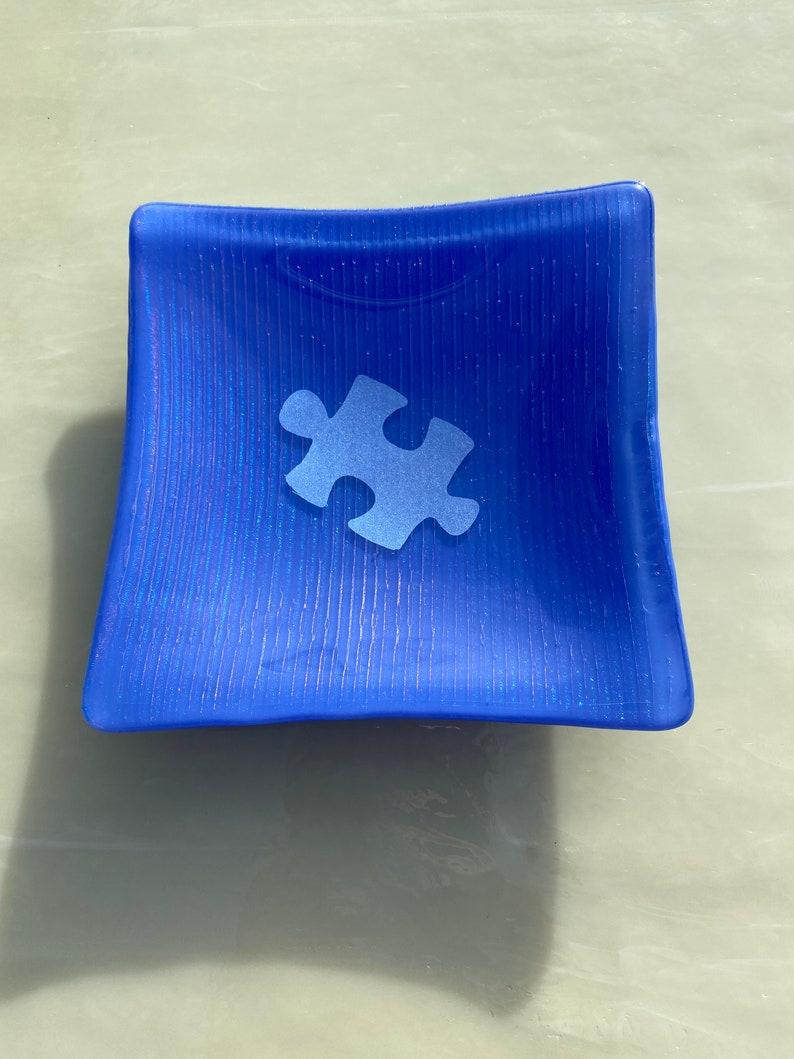 Autism Puzzle Piece Dish Autism Awareness Dish Autism Awareness Fused Glass Dish Autism Glass Dish Puzzle Piece Glass Dish