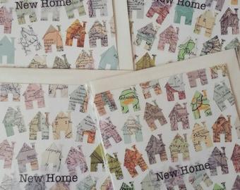 New Home - handmade card using original vintage map pieces