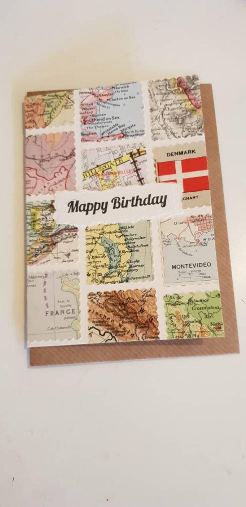 Carte Canada Mappy.Mappy Anniversaire Carte Fait A La Main En Utilisant Des Pieces Originales De Carte Vintage