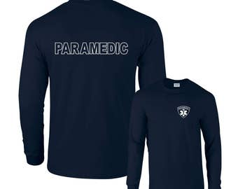 Paramedic Emergency Medical Services White Logo F&B Long Sleeve T-Shirt