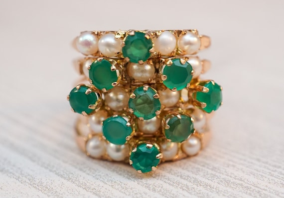 Pearl, Emerald & Gold Harem Ring