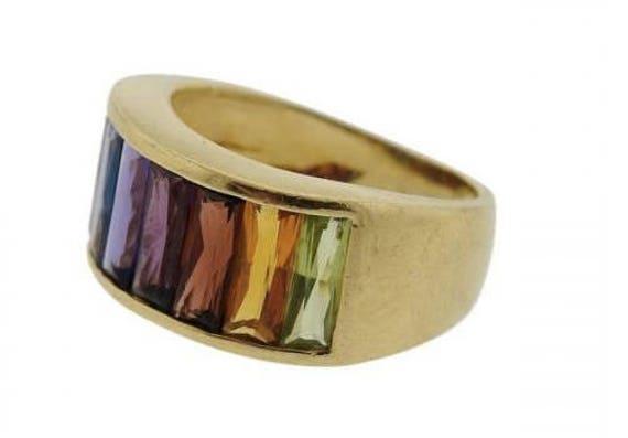 H Stern Multi Gemstone Rainbow Ring Etsy