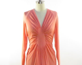 Glamorous 1970s, Floor Length, Coral Evening Dress! Robert David Morton, in EXCELLENT condition.