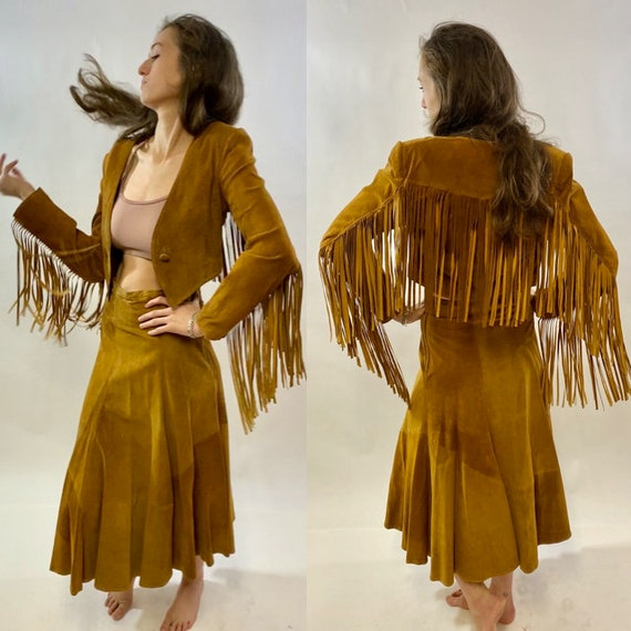 Vintage 1980s, Wilson Suede Leather, Two Piece Lea