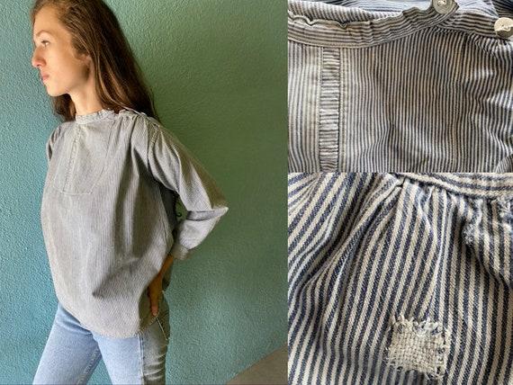 Vintage / Antique, Cotton Blue and White Pin Strip