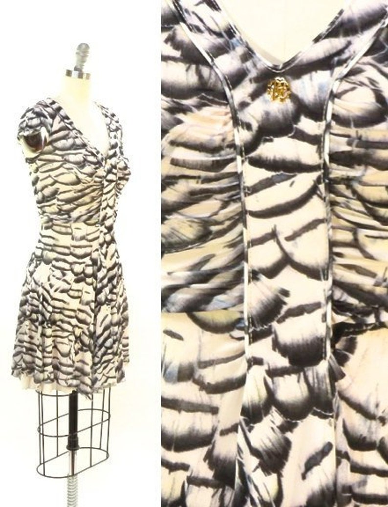 2c1e0185c2c9 Roberto Cavalli Feather Printed Mini Dress. Silky Cupro | Etsy