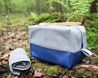 Cosmetic bag: Medium toiletry bag blue Navy travel organizer Cosmetic bag vegan Mens dopp kit shaving kit bag