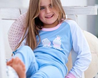 Girls Pyjamas, Organic Pima Cotton Princess Frog Pajama Set, high quality, girls, kids pajamas, nightwear