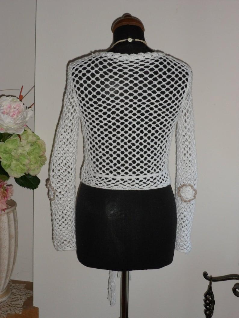 Crocheted white sweater Womens crochet vest neckline summer crochet wear Ready to ship V Mothers day gift Summer soft sweater