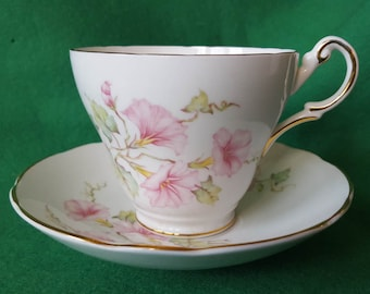 Regency English Bone China Cup and Saucer in a Pink Morning Glory Design