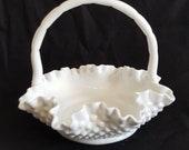 Traditional FENTON Hobnail Milk Glass Basket, Candy Dish, Trinket Bowl