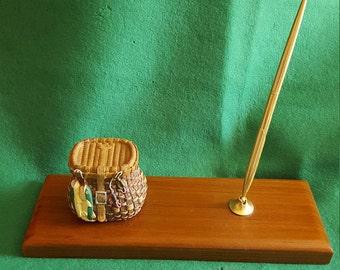 Fisherman's Tackle Basket and Gold Tone Vintage Pen Desk Set