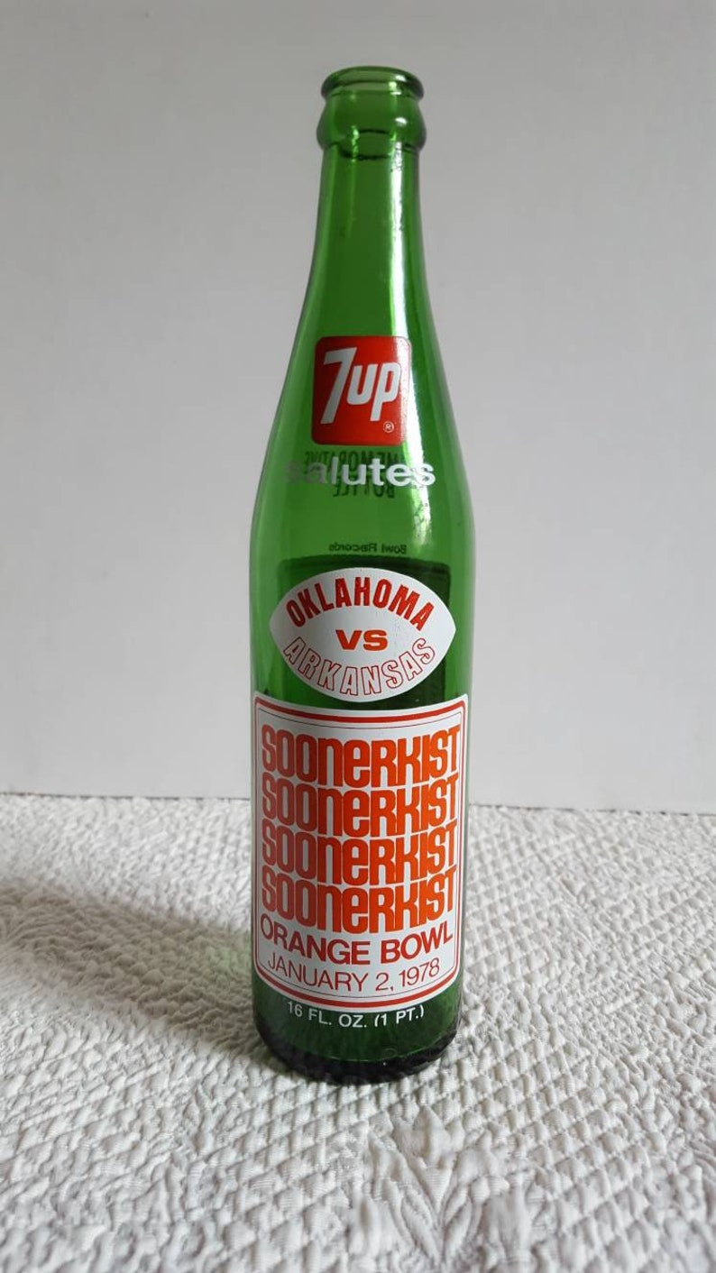 1978 7UP Oklahoma Sooners vs Arkansas Orange Bowl  Commemorative Bottle