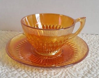 Marigold Cup and Saucer in Anniversary Pattern frim Jeannette Glass