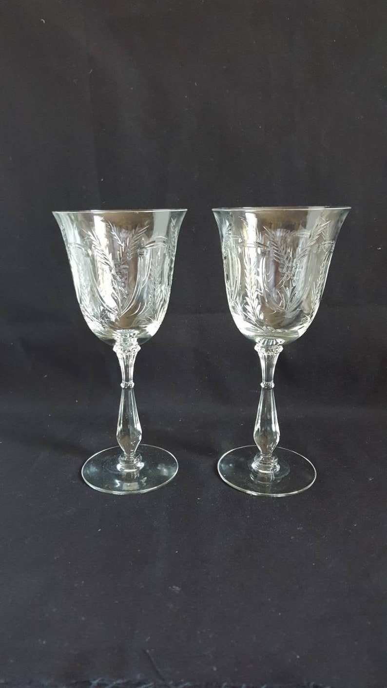 Set Of 2 Vintage Cut Crystal Wine Glasses With Wheat Pattern Etsy
