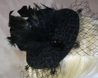 Mini cylinder-[Black network ribbon]-fascination-lolita-Headdress