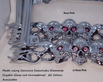 Girls Womens Pink Swarovski Crystal Eyes Bling Chrome Metal Skulls Motorcycle Biker License Plate Frame 4 Harley Davidson 27 colors AVAIL