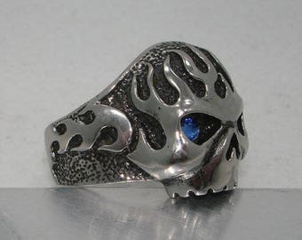 For Harley Davidson Biker BIKERS Motorcycles riders Skull Flames Stainless Steel 316L Vintage style Ring 27 diff colors avail for eyes