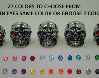 For Harley Davidson Men's Biker Ring Skull Skeleton Gun Solid Stainless Steel Silver 27 Swarovski Crystal Eye Colr Avail Size 9 10 11 12 13