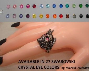For Harley Davidson Biker Ladie's Girl's Women's Skull Rose butterfly ring 27 diff colors Swarovski crystals surgical silver stainless steel