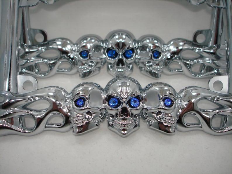 9e13ce556 Chrome Metal 3 Three Skulls Flames Bones Motorcycle Biker | Etsy