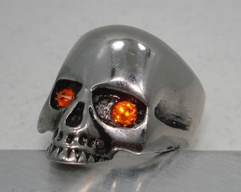 For Harley Davidson owners riders Flame Orange logo colors Unisex stainless steel skull silver ring vintage finish collectors collectible