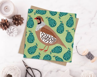 Partridge in a pear tree Christmas card, 12 days of Christmas card, traditional Christmas card, Bird Christmas card, Animal Christmas card
