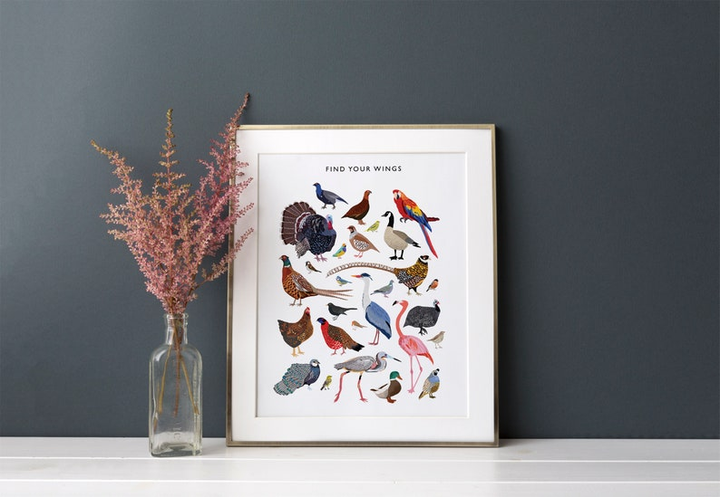 Birds Print Inspirational Poster Office Decor Illustrated image 0