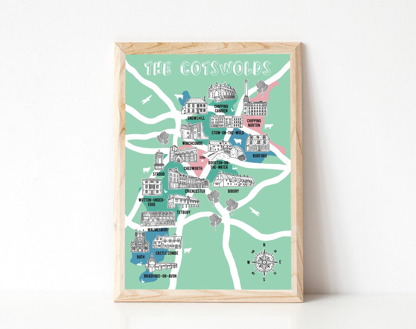 Cotswolds map, Cotswold gifts, Map illustration, County Map, Map Gift,  Cotswold Art, The Cotswolds, new home gift, hand drawn map, handmade