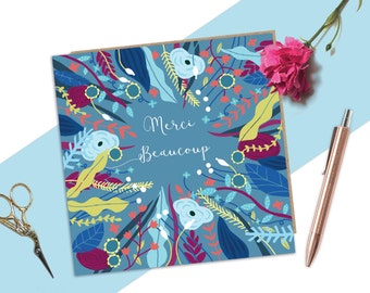 Thank you card, Merci Beaucoup, Thank you very much, Thanks Card, Floral Card, French Card, Quirky Thank you Card, Pretty Card, Floral Card