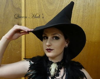 Black Leather Witch or Wizard Hat