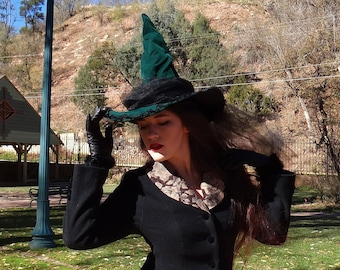 Green Velvet Witch Hat with Black Tulle