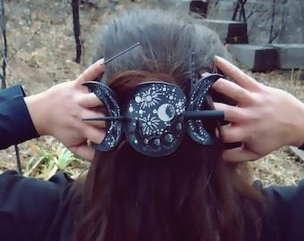 Dark Triple Moon Leather Hair Slide