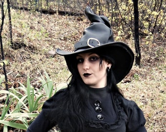 Black Leather Witch or Wizard Tall Hat