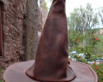 Brown Leather Witch or Wizard Hat