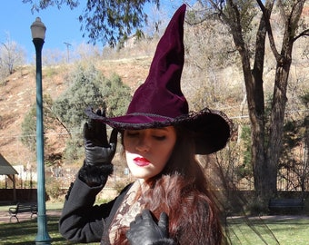 Purple Velvet Witch Hat with Dahlia and Black Tulle