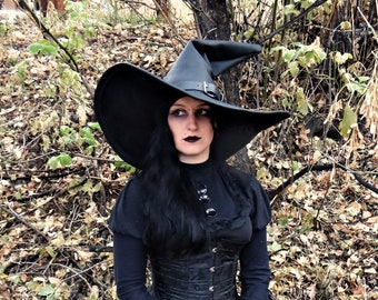 Extra Large Black Leather Witch or Wizard Hat