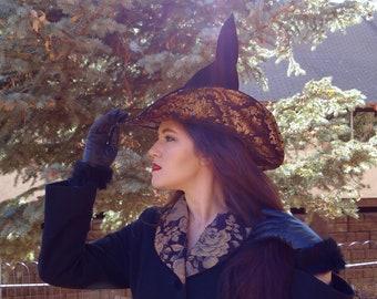 Black Velvet Witch Hat with Brocade