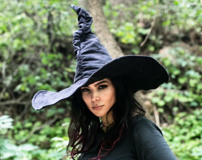 Featured listing image: Black Suede Witch Hat - Ruche Extra Large