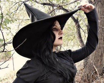 Black Leather Witch or Wizard Hat with extra large brim