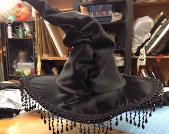 Black ruched witch hat with beads