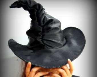 4c616b7a29d Black ruched witch hat