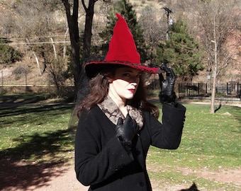 Red Velvet Witch Hat with Rose and Black Tulle