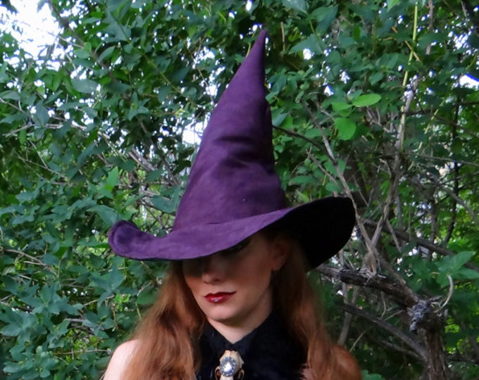 Featured listing image: The Plum Witch or Wizard ~ Purple Suede Witch or Wizard Hat
