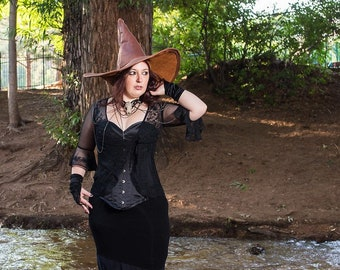 Brown Leather Witch or Wizard Hat with large brim